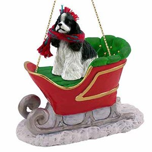 Cocker Spaniel Sleigh Ride Christmas Ornament Black-White