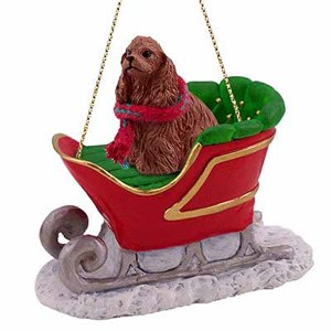 Cocker Spaniel Sleigh Ride Christmas Ornament Brown