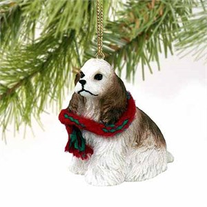 Cocker Spaniel Tiny One Christmas Ornament Brown-White