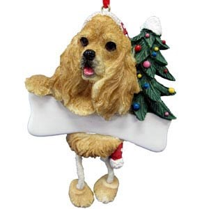 Cocker Spaniel Christmas Tree Ornament - Personalize (Blonde)