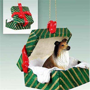 Collie Gift Box Christmas Ornament Sable