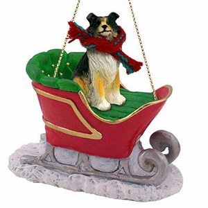Collie Sleigh Ride Christmas Ornament Tricolor