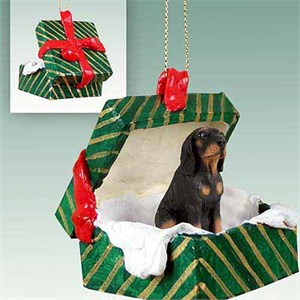 Coonhound Gift Box Christmas Ornament Black-Tan