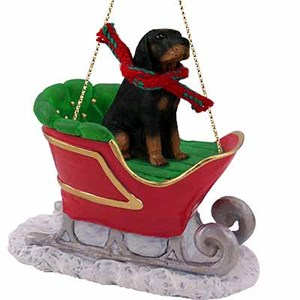 Coonhound Sleigh Ride Christmas Ornament Black-Tan
