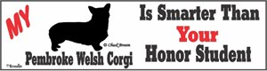 Corgi Bumper Sticker Honor Student