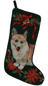Corgi Christmas Stocking Green Bkgrd