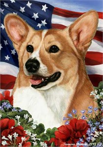 Corgi House Flag Fawn-White