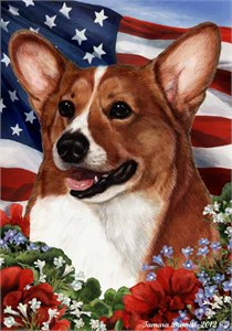 Corgi House Flag Tan-White