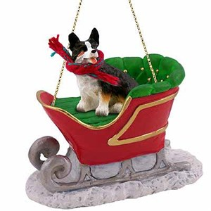 Corgi Sleigh Ride Christmas Ornament Cardigan