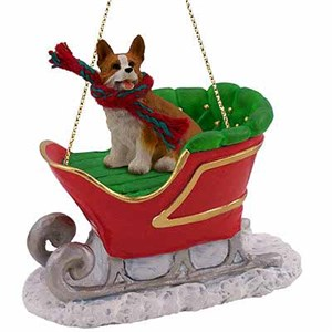 Corgi Sleigh Ride Christmas Ornament Pembroke