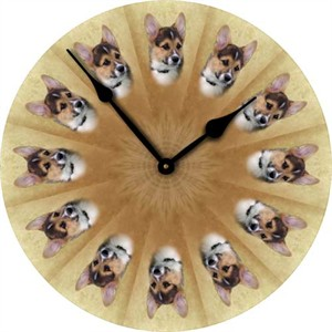 Corgi Tri Colored Wall Clock