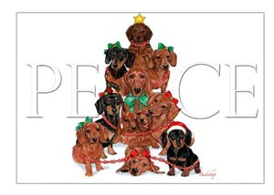 Dachshund Christmas Cards Peace