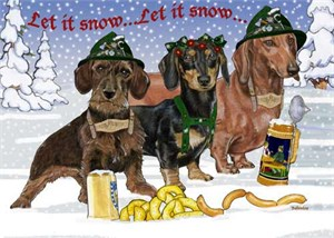 Dachshund Christmas Cards Wonderland