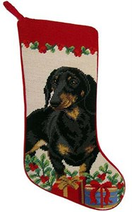 Dachshund Christmas Stocking Blk-Tan