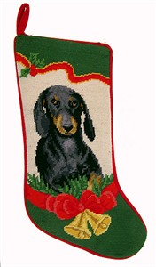 Dachshund Christmas Stocking Santa Hat