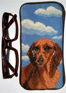 Dachshund Eyeglass Case Red