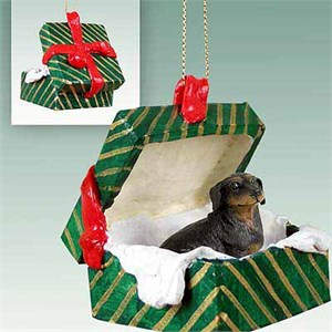 Dachshund Gift Box Christmas Ornament Black