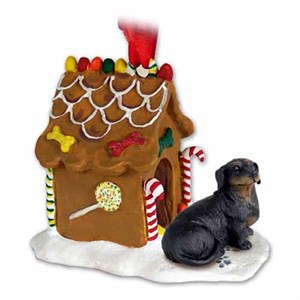 Dachshund Gingerbread House Christmas Ornament Black