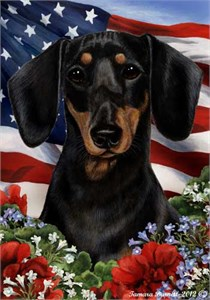Dachshund House Flag Black-Tan