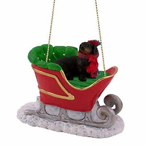 Dachshund Sleigh Ride Christmas Ornament Black