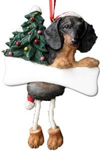 Dachshund Christmas Tree Ornament - Personalize (Black)