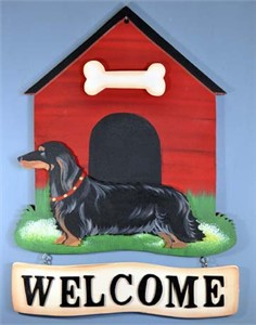 Dachshund Welcome Sign Long-Blk
