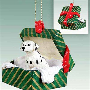 Dalmatian Gift Box Christmas Ornament