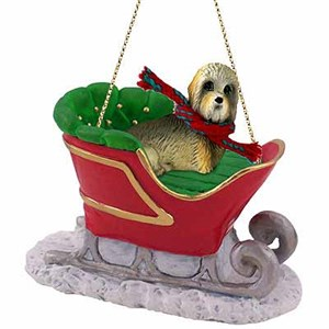 Dandie Dinmont Sleigh Ride Christmas Ornament