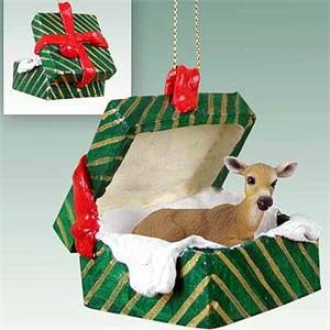 Deer Gift Box Christmas Ornament Doe