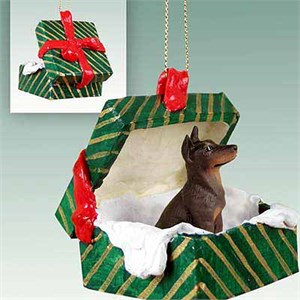Doberman Pinscher Gift Box Christmas Ornament Red