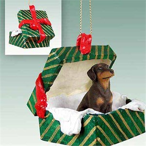 Doberman Pinscher Gift Box Christmas Ornament Red Uncropped