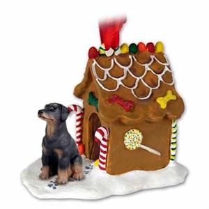 Doberman Pinscher Gingerbread House Christmas Ornament Black Uncropped