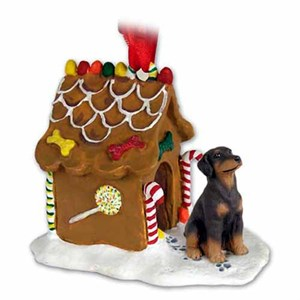 Doberman Pinscher Gingerbread House Christmas Ornament Red Uncropped