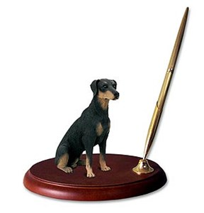Doberman Pinscher Pen Holder (Black Uncropped)