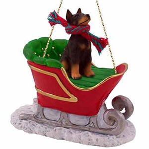 Doberman Pinscher Sleigh Ride Christmas Ornament