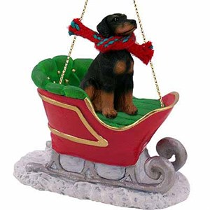 Doberman Pinscher Sleigh Ride Christmas Ornament Black Uncropped