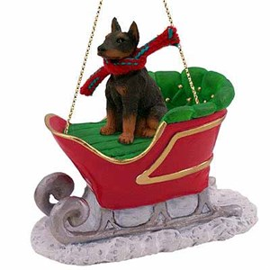 Doberman Pinscher Sleigh Ride Christmas Ornament Red