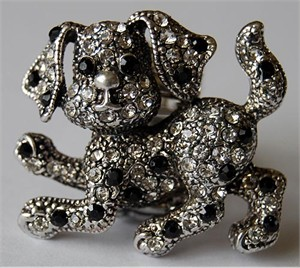 Charming Dog Rhinestone Stretch Ring
