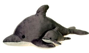 Gray Dolphin With Baby Plush Stuffed Animal 22""