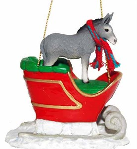 Donkey Sleigh Ride Christmas Ornament