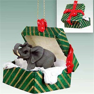 Elephant Gift Box Christmas Ornament