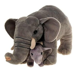 Elephant With Baby Plush Stuffed Animal 12""