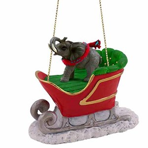 Elephant Sleigh Ride Christmas Ornament