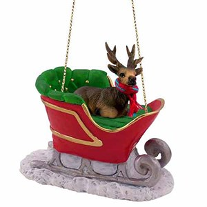 Elk Sleigh Ride Christmas Ornament Bull