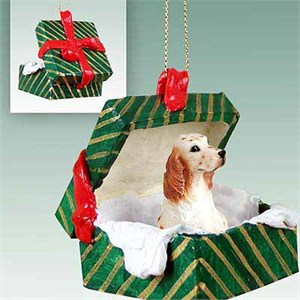 English Setter Gift Box Christmas Ornament Belton Orange