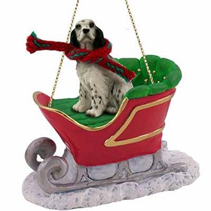 English Setter Sleigh Ride Christmas Ornament Belton Blue