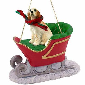 English Setter Sleigh Ride Christmas Ornament Belton Orange