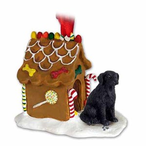 Flat-Coated Retriever Gingerbread House Christmas Ornament