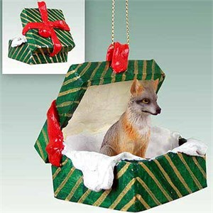 Fox Gift Box Christmas Ornament Gray