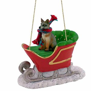 Fox Sleigh Ride Christmas Ornament Gray